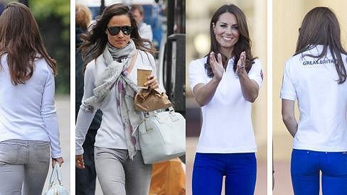 Zadečky Kate a Pippy Middleton v kalhotách.