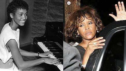 Whitney Houston jako vzkvétající pěvecký talent a pár dní před úmrtím.