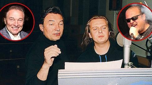 Karel Gott a Láďa Křížek při nahrávání songu Panis Angelicus.