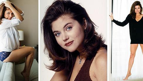 Tiffani Amber Thiessen před dvaceti lety (uprostřed) a dnes.