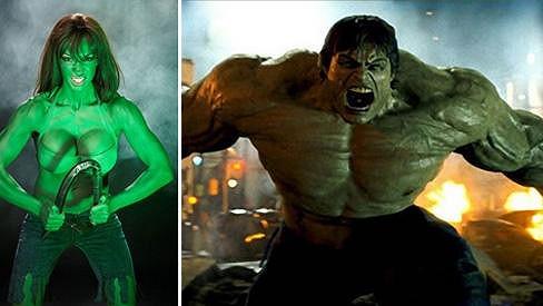 Jodie Marsh se stylizovala do komiksového Hulka.