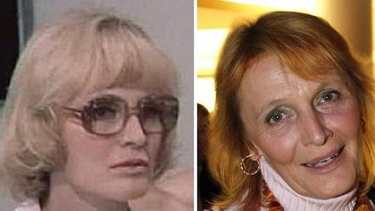 Regina Rázlová v roce 1976 a nyní.