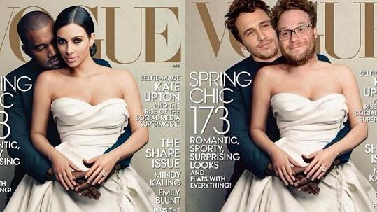 Z obálky Vogue s Kim Kardashian a Kanyem Westem si vystřelili i Seth Roger a James Franco.