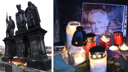 Pieta za Jana Třísku na Karlově mostě