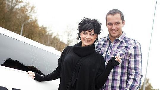 Lucie Bílá a moderátor Míra Hejda.