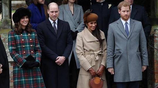 William s Kate a Harry s Meghan poprvé veřejně pohromadě