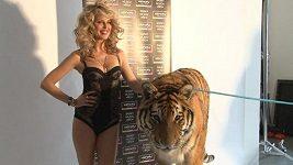 Simona Krainová - focení s tygrem